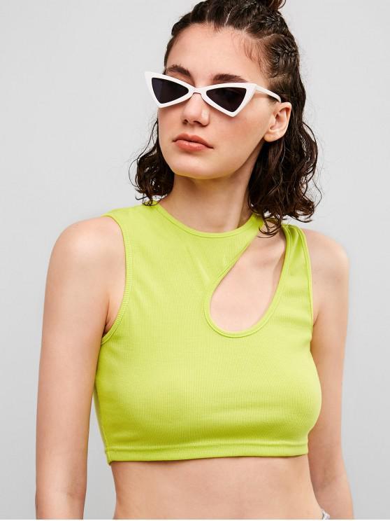 women ZAFUL Neon Cut Out Ribbed Crop Tank Top - PISTACHIO GREEN S