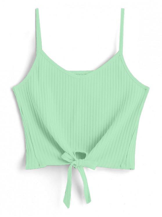 women's ZAFUL Tie Front Cami Tank Top - GREEN YELLOW L