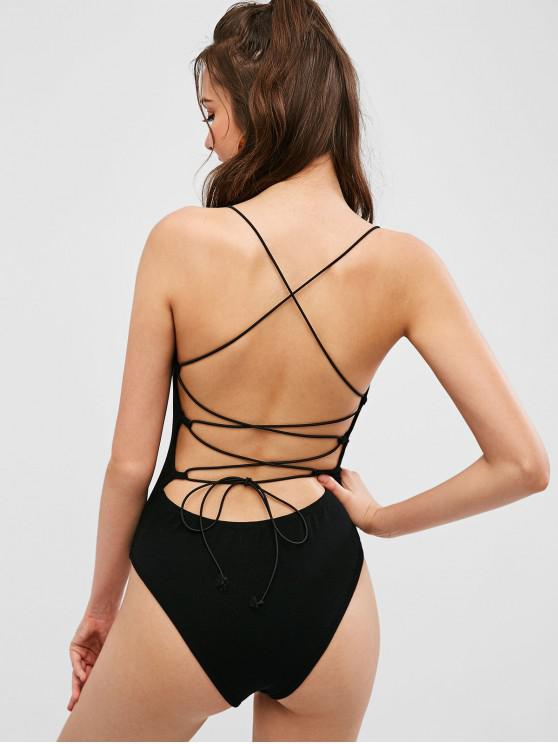 unique ZAFUL Knitted Criss Cross Backless Bodysuit - BLACK S