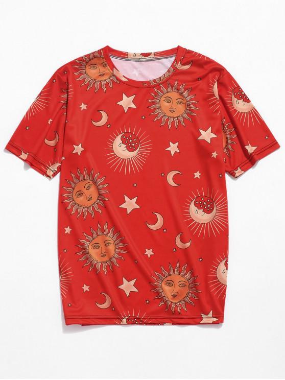women Sun Moon Star Pattern Short Sleeves T-shirt - RED XL