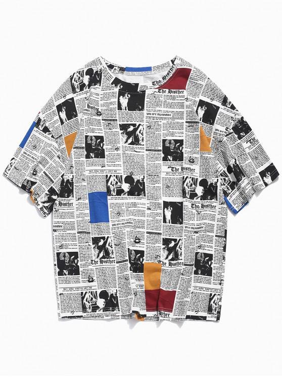 trendy Retro Newspaper Print Casual T-shirt - WHITE 3XL