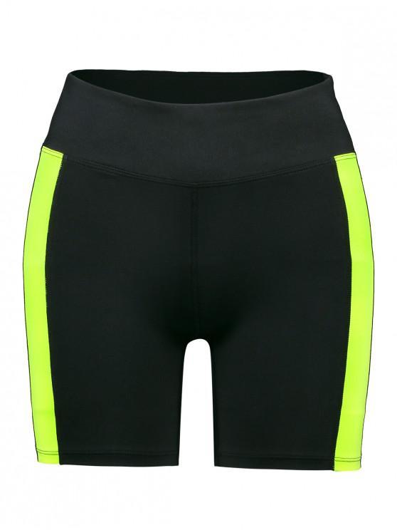 women's ZAFUL Color Block High Waisted Skinny Shorts - BLACK S