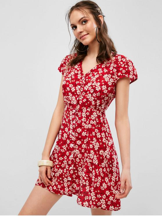 fancy Lace Up Back Button Up Floral Dress - RED S