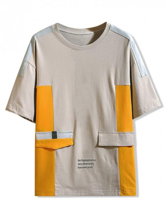 latest Drop Shoulder Color Block Panel T-shirt - GRAY CLOUD L
