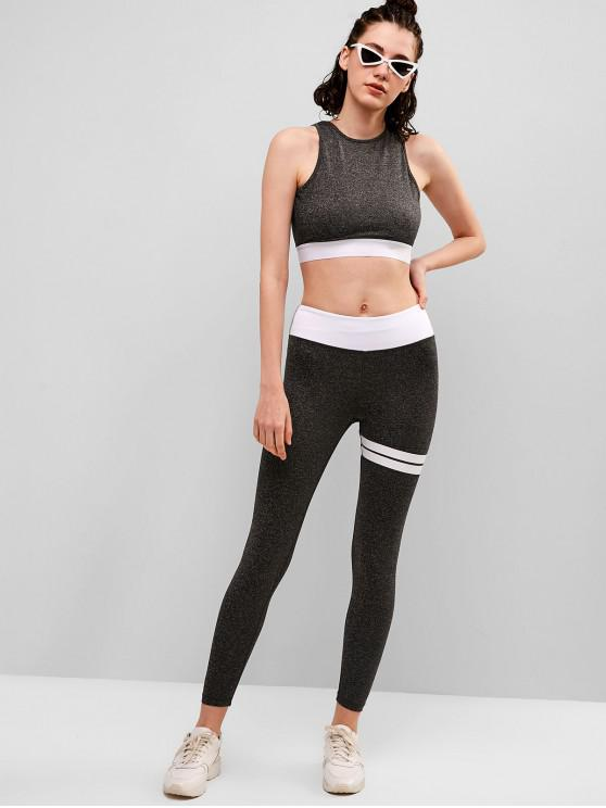 unique Space Dye Cut Out Gym Top and Leggings Set - GRAY CLOUD S