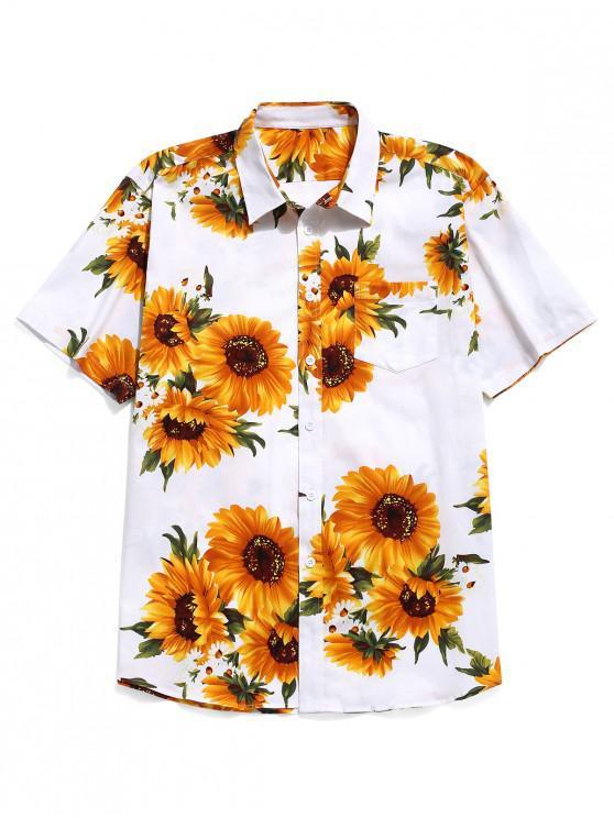 trendy Sunflower Print Short Sleeves Shirt - WHITE M