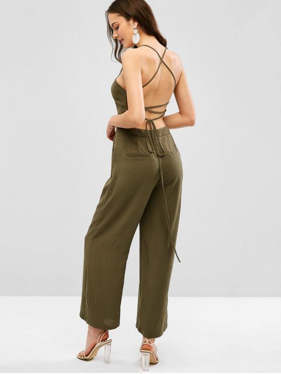 shops ZAFUL Backless Buttoned Loose Cami Jumpsuit - ARMY GREEN M