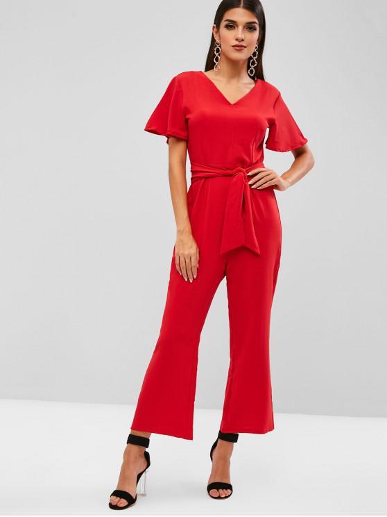 hot V Neck Belted Wide Leg Jumpsuit - RED XL
