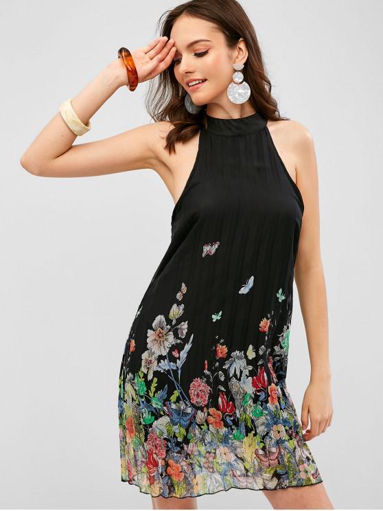 affordable Pleated Keyhole Back Floral Dress - BLACK S