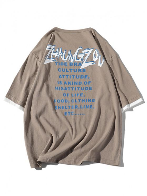 fancy Drop Shoulder Letter Print T-shirt - CAMEL BROWN XL