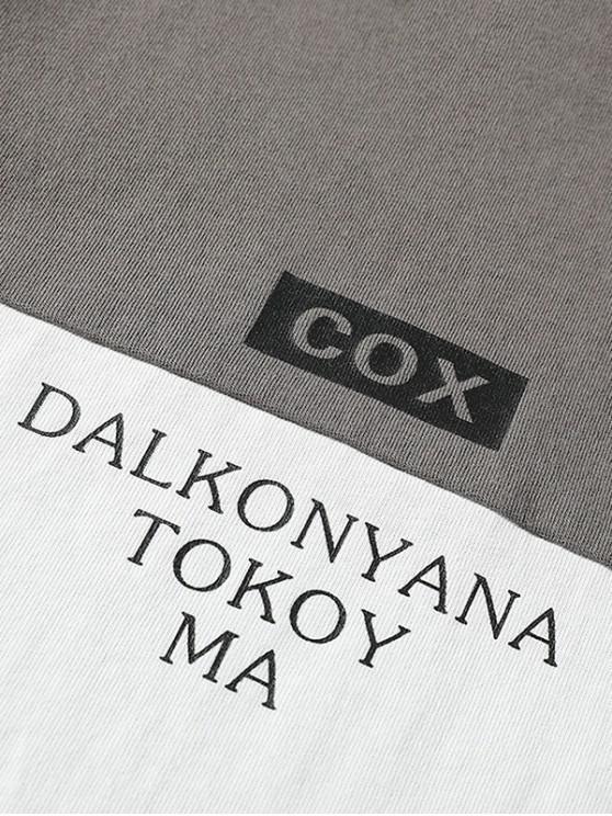 CouleursCuirassé M shirt De T Blocs Gris Avec Imprimé Lettres vOmwnN80