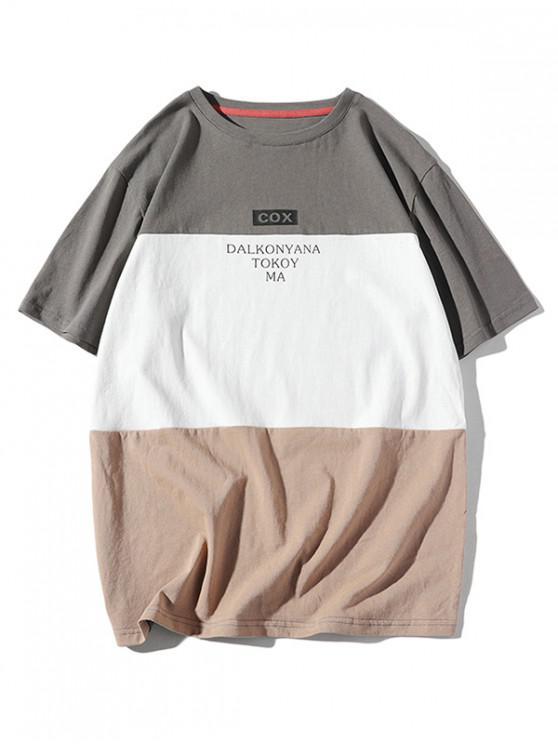 chic Color Block Panel Letter Print T-shirt - BATTLESHIP GRAY 2XL