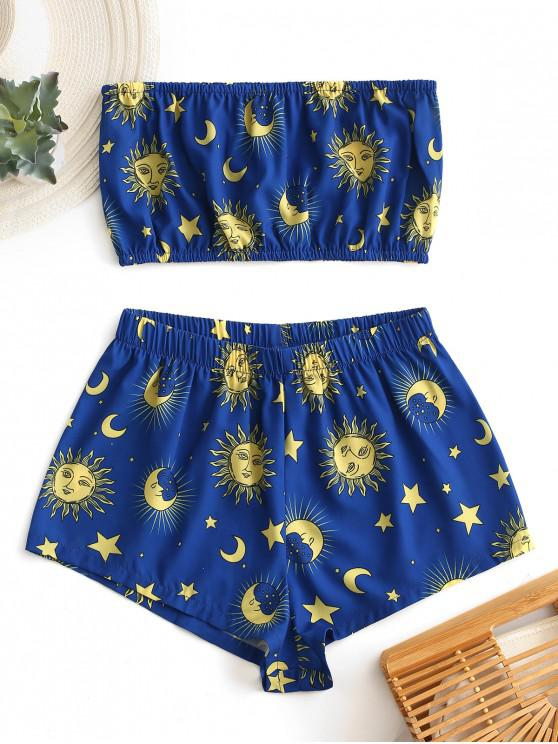 shop ZAFUL Star Sun and Moon Bandeau Top And Shorts Set - BLUEBERRY BLUE L