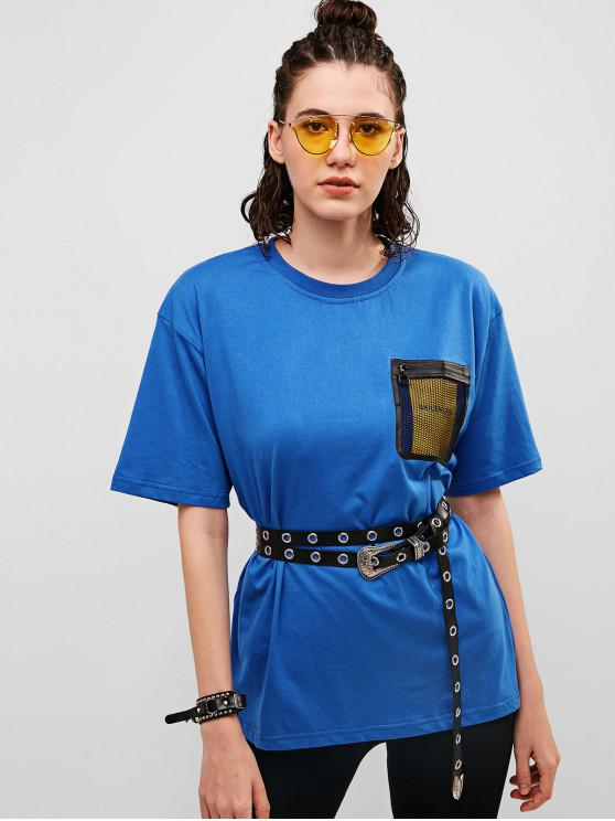 outfits Fishnet Chest Pocket Boyfriend Tunic Tee - OCEAN BLUE M
