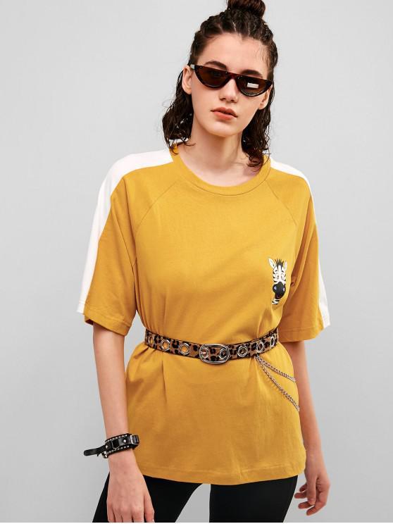 fashion Giraffe Graphic Raglan Sleeve Boyfriend Tee - BEE YELLOW S