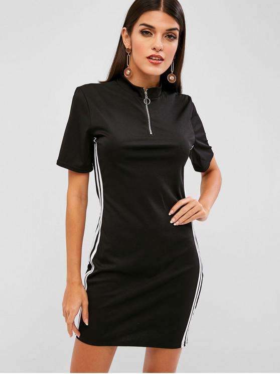 trendy Half Zip Stripes Panel Bodycon Dress - BLACK L