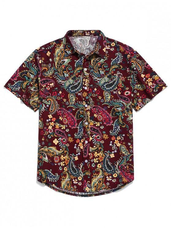 chic Paisley Print Short Sleeve Shirt - ROSE RED M