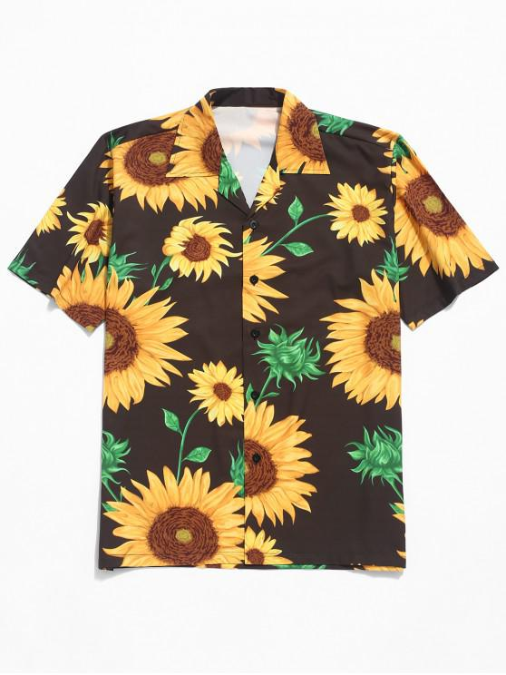 affordable Sunflower Print Button Shirt - MULTI L