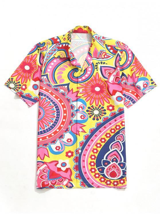 online Flower Paisley Print Short Sleeves Shirt - MULTI XL