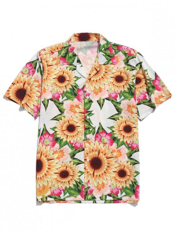 fancy Sunflower Allover Print Casual Shirt - MULTI 2XL
