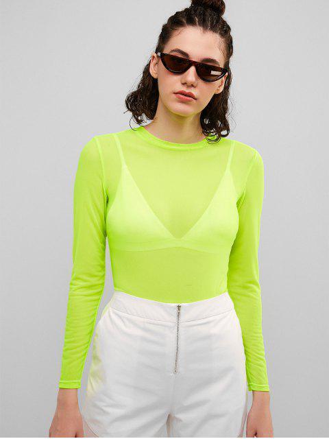 ZAFUL Top de malla transparente - Verde Amarillo M Mobile