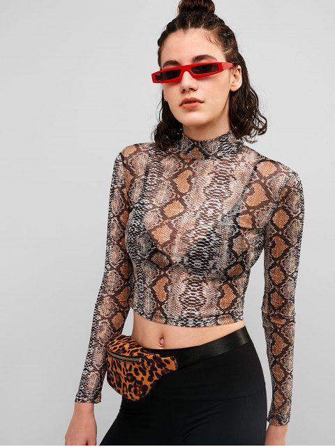 Camiseta de malla con estampado de serpiente escarpada - Multicolor-A M Mobile