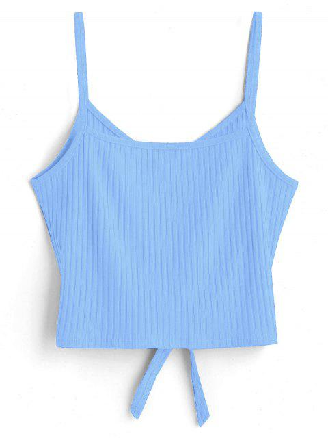 ladies ZAFUL Tie Front Cami Tank Top - LIGHT SKY BLUE S Mobile