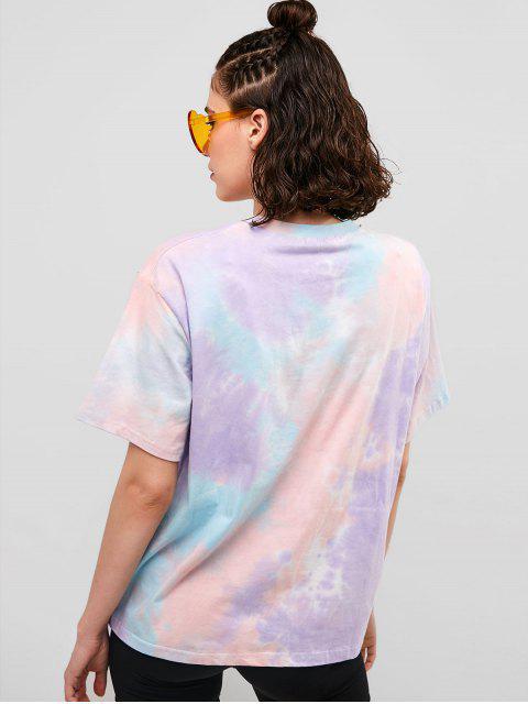 Camiseta de novio con hombros caídos y efecto teñido anudado - Multicolor L Mobile