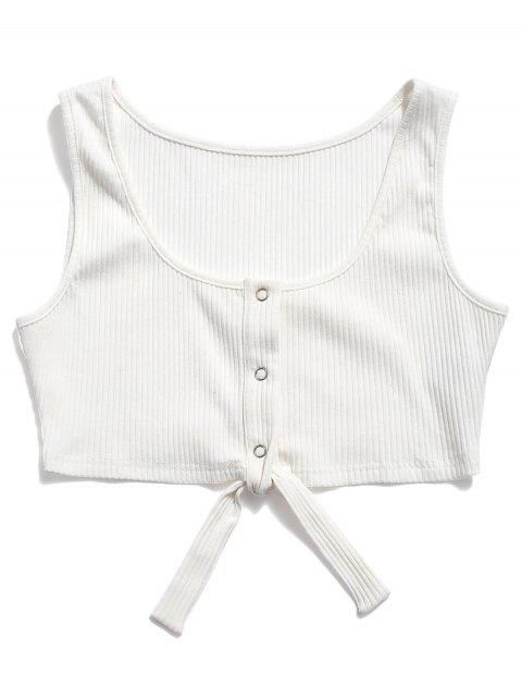 ZAFUL Knit Snap Button Knot Crop Top - Blanco M Mobile