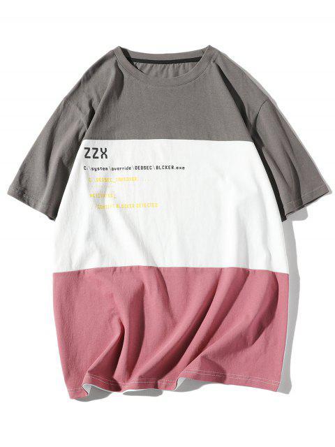 Camiseta de impresión de letras empalmado gota hombro camiseta - Gris de Acorazado M Mobile
