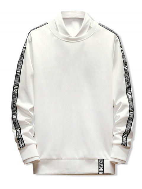 Buchstabedruck- Ribbon -Spleißen -Sweatshirt - Weiß L Mobile
