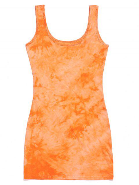 Mini vestido con cuello en U y corbata teñida - Naranja Oscuro M Mobile