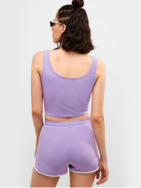 ZAFUL Drawstring Ringer Shorts Set - Púrpura Mediana S Mobile