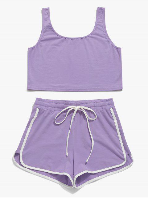 ZAFUL Drawstring Ringer Shorts Set - Púrpura Mediana L Mobile