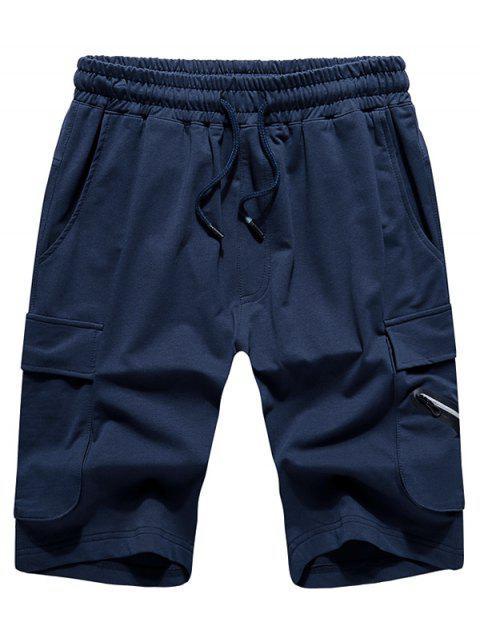 Shorts elásticos de color liso - Cadetblue 2XL Mobile