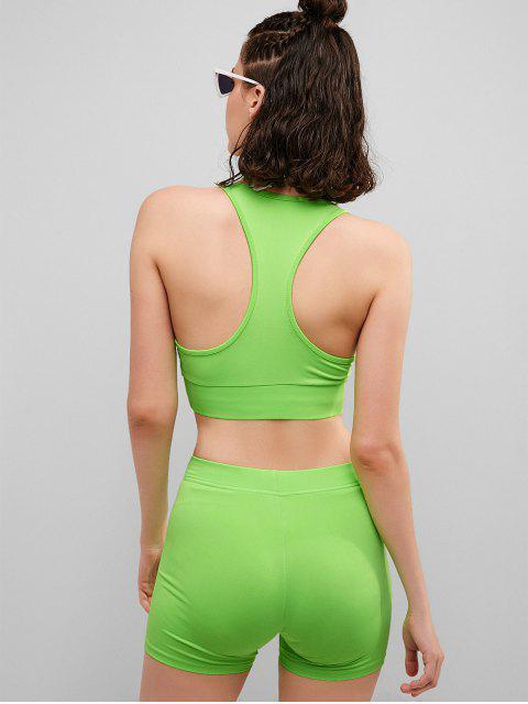 Racerback Neon Gym Bra y conjunto de pantalones cortos de motorista - Verde de Pistacho M Mobile