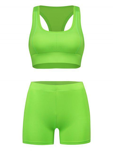 womens Racerback Neon Gym Bra and Biker Shorts Set - PISTACHIO GREEN L Mobile