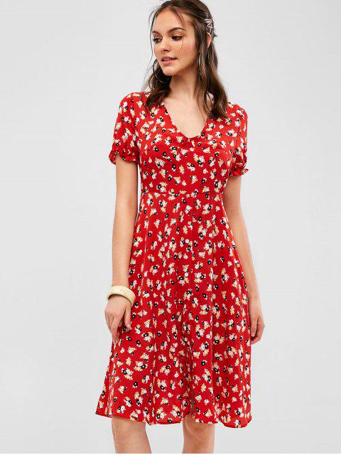 affordable Button Up Floral Midi A Line Dress - RED S Mobile