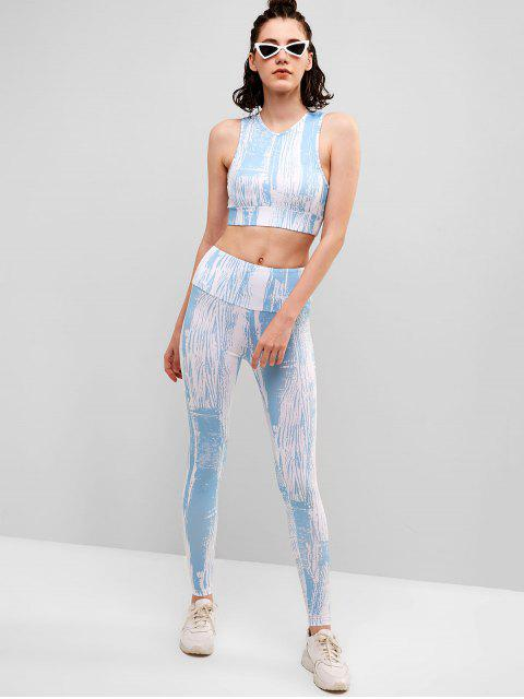 Conjunto de sujetador y leggings de gimnasio con corte teñido anudado - Multicolor S Mobile