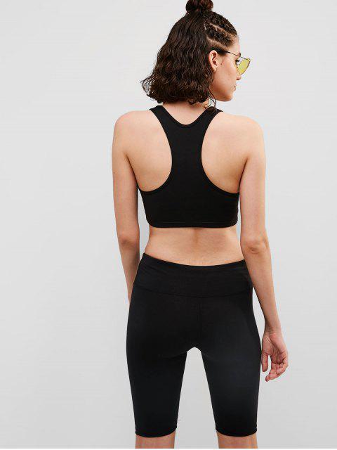 ZAFUL Racerback acolchado Biker Shorts conjunto - Negro L Mobile