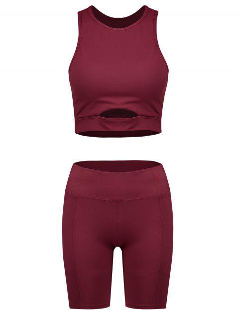 ZAFUL acolchado recortado flaco conjunto de pantalones cortos - Vino Tinto S Mobile