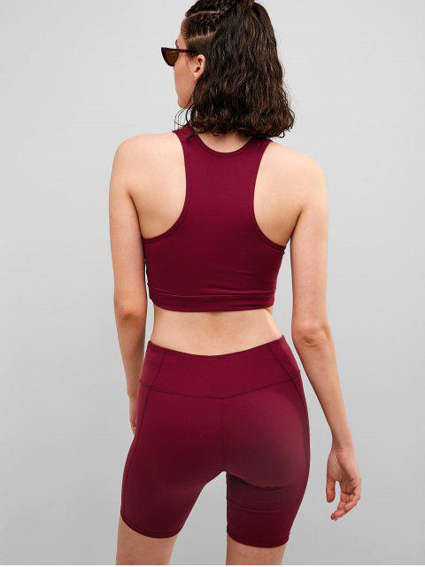 ZAFUL acolchado recortado flaco conjunto de pantalones cortos - Vino Tinto M Mobile