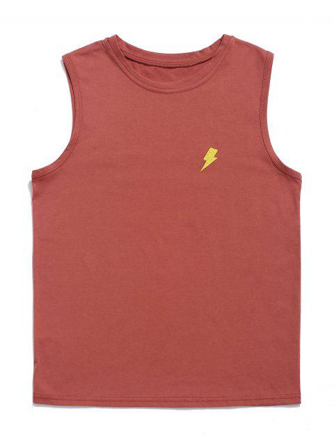 Rayo bordado camiseta sin mangas informal - Castaño Rojo M Mobile