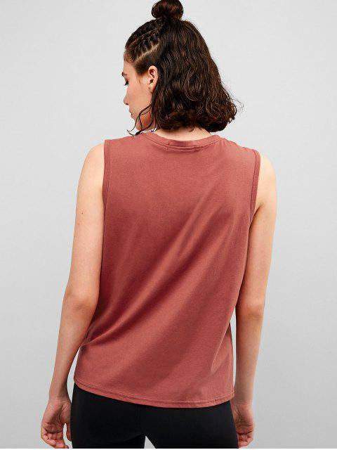 Rayo bordado camiseta sin mangas informal - Castaño Rojo XL Mobile
