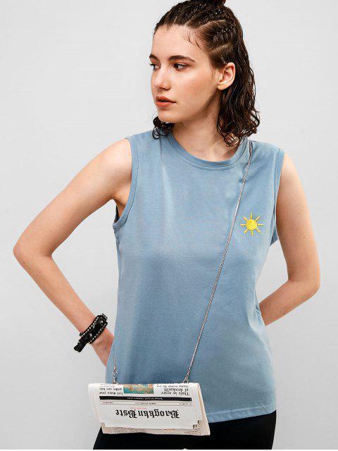Algodón sol bordado camiseta sin mangas informal - Gris Azulado M Mobile