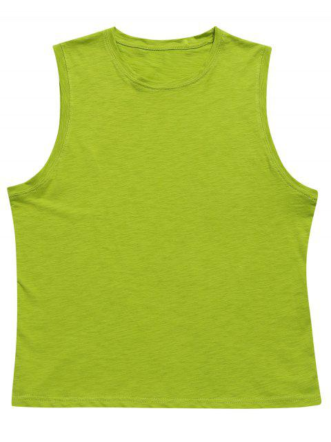 Side Slit Casual Boyfriend Tank Top - Verde de Pistacho L Mobile