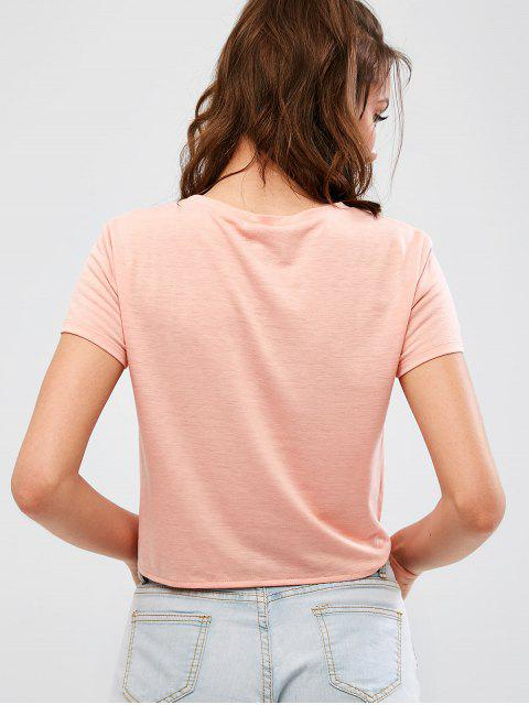 hot Morning Graphic Tie Front Tee - ORANGE PINK L Mobile