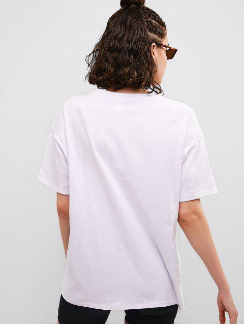 Camiseta de boyfriend con gráfico de televisión - Blanco L Mobile