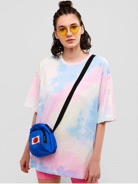 Camiseta de túnica casual con gráfico teñido anudado para novio - Multicolor M Mobile
