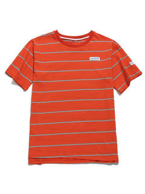 Camiseta Túnica Algodón Rayas Boyfriend - Castaño Rojo S Mobile